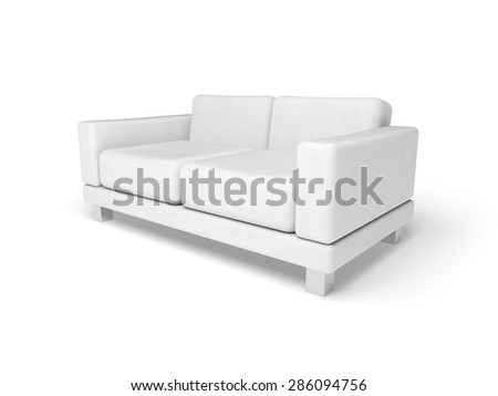 Sofa isolated on white empty floor background, 3d illustration, perspective view - stock photo