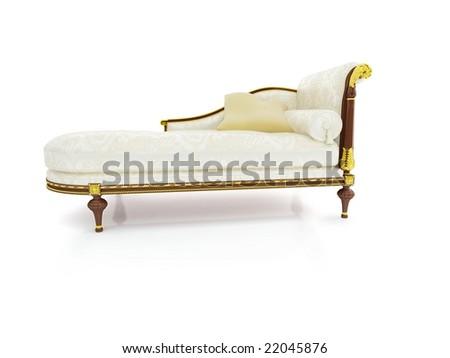 sofa on white background - stock photo