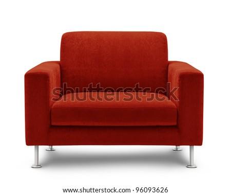 sofa seat isolated on white background - stock photo