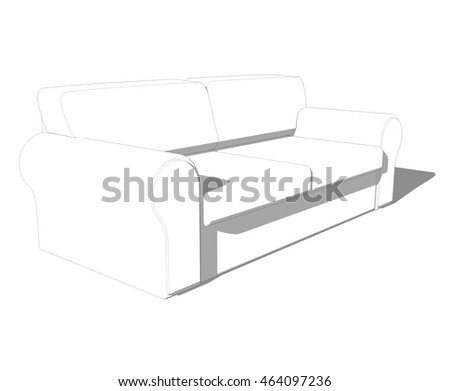 sofa sketch 3d illustration