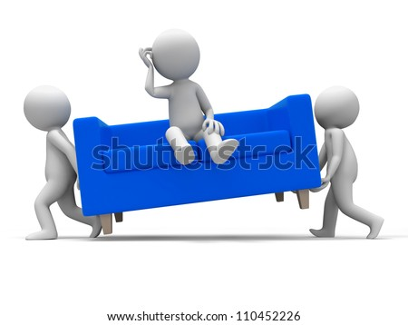 Sofa/ Two people carried a sofa - stock photo
