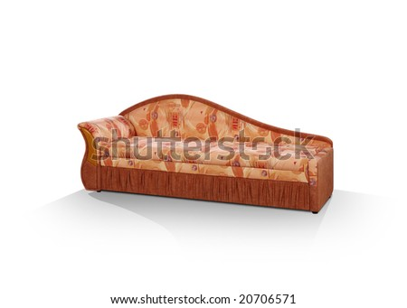 sofa with one elbow-rest on a white background - stock photo