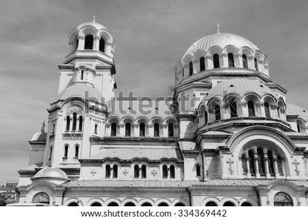 Sofia, Bulgaria - Alexander Nevsky Orthodox Cathedral. Black and white vintage style. - stock photo