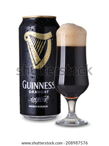 SOFIA, BULGARIA - AUGUST 8, 2014 Guinness draught on white background. Guinness is a popular Irish dry stout originated in the brewery of Arthur Guinness at St. James's Gate, Dublin in 1759.  - stock photo