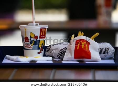 SOFIA, BULGARIA - AUGUST 23, 2014: McDonalds Meal on a stret background near their restaurant  - stock photo