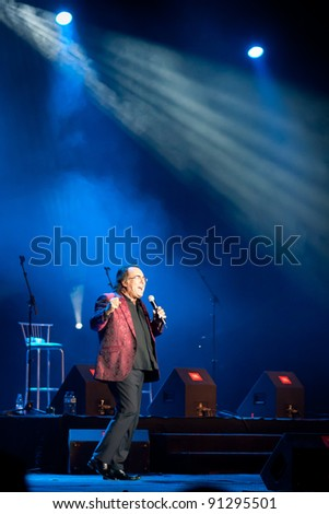SOFIA, BULGARIA, EUROPE – DECEMBER 11: The famous Italian singer and musician Al Bano performs in Sofia, Bulgaria. The concert takes place in the National Palace of Culture on December 11, 2011. - stock photo