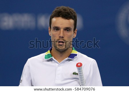 Sofia, Bulgaria - February 11, 2017: Roberto Bautista Agut (pictured) from Spain plays against David Goffin from Belgium during a match from Sofia Open 2017 tennis tournament.