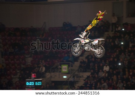 Sofia, Bulgaria - January 10 : Maikel Melero ESP performs trick during the 2015 FIM Mx Freestyle World Championship on January 10, 2015 in Sofia, Bulgaria.