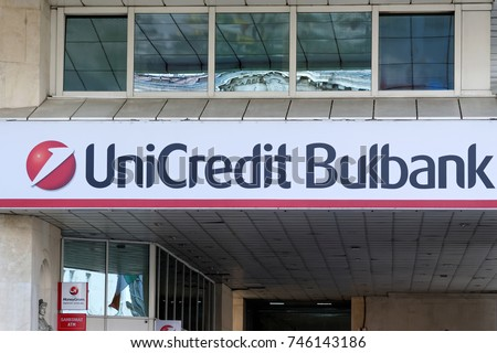 Sofia, Bulgaria - July 04, 2017: The logo of UniCredit Bulbank - the largest bank of Bulgaria. Before 1994, the bank was known as the Bulgarian Foreign Trade Bank or BFTB.