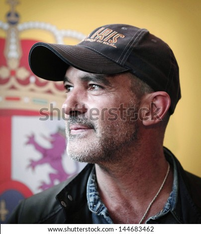 SOFIA, BULGARIA - JUNE 11: Antonio Banderas attends the opening of the 20th edition of the Spanish and Ibero-American cinema week at National Palace of Culture on June 11 2013 in Sofia, Bulgaria. - stock photo