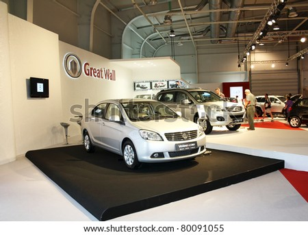 SOFIA, BULGARIA - JUNE 19: Chinese car manufacturer Great Wall with models Voleex C30 and Hover H6 on display at the 2011 Sofia International Motor Show on June 19, 2011 in Sofia, Bulgaria - stock photo