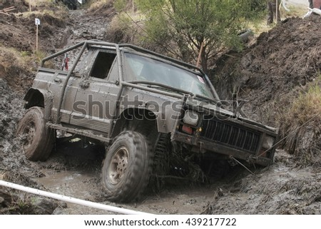 Sofia, Bulgaria - June 19, 2016: Off-road vehicle at the dirt road.