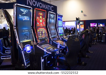 Sofia, Bulgaria - November 24, 2016: A slot machine is seen in a casino equipment exhibition in Inter Expo Center.