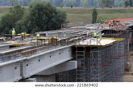Sofia, Bulgaria - September 2, 2013: Workers are working at a new line of Sofia's subway which leads to the city's airport.