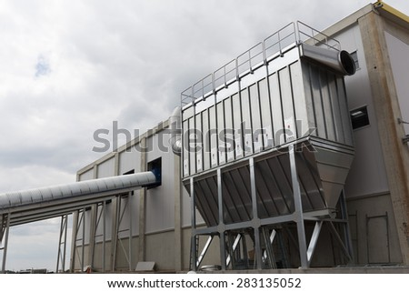 Sofia's second waste plant (organic waste plant, waste to energy plant, composting, incineration, landfill, recycling, windrow composting) from the outside. - stock photo