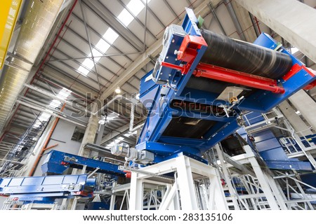 Sofia's second waste plant (organic waste plant, waste to energy plant, composting, incineration, landfill, recycling, windrow composting) from the inside. - stock photo