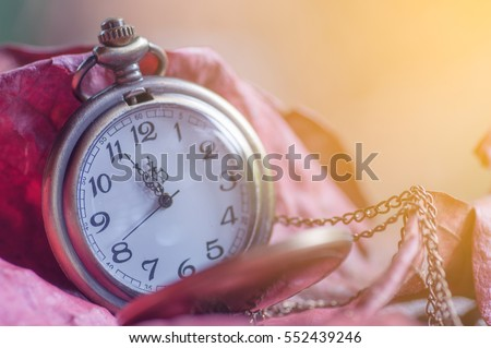 Soft and blur antique pocket clock on dried leaves for background