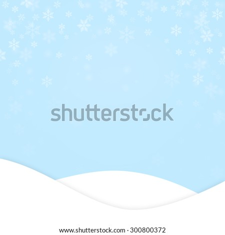 Soft blue Christmas or New Year landscape scene with blurred delicate snowfalkes and copyspace. Illustration greeting card. - stock photo