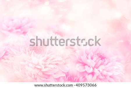 Soft blurred of gerbera flowers with soft bokeh in pastel tone for background. - stock photo