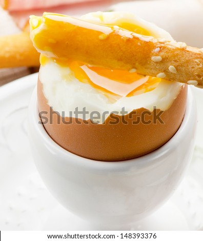 Soft boiled egg   - healthy breakfast. Selective focus