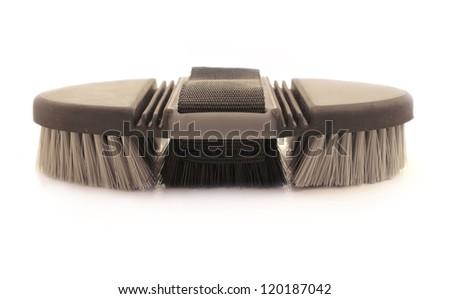 soft brush  for grooming horses - stock photo
