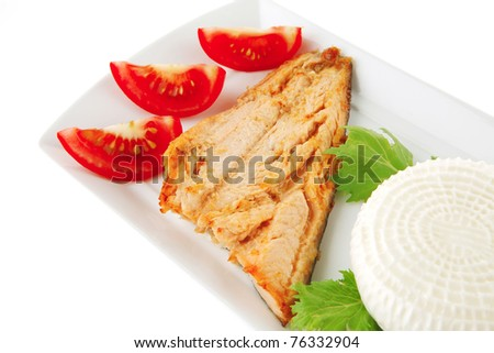 soft cheese and grilled salmon steak on white - stock photo