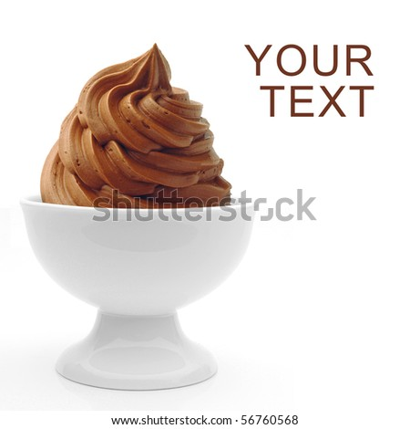 Soft chocolate ice cream in bowl - stock photo