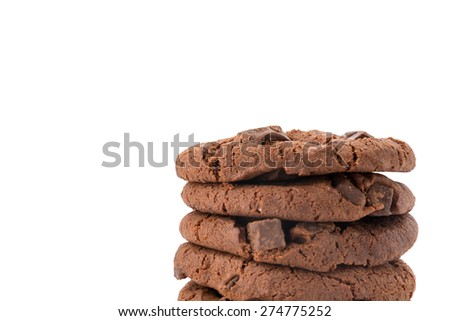soft dark chocolate brownie cookies on white - stock photo