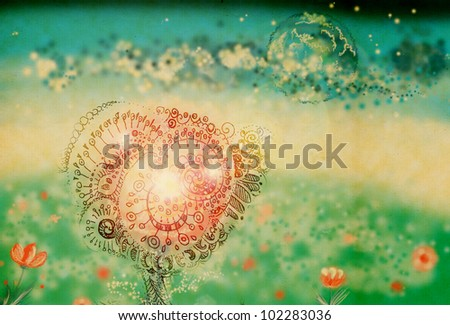 Soft dreamlike landscape with unusual flower and the planet in the clouds - stock photo