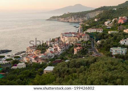 Soft early evening light illuminates the southern Italian resort town of Sorrento. - stock photo