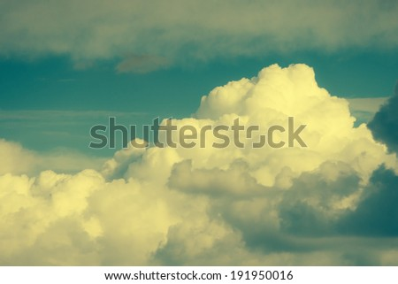Soft fluffy sky in retro vintage effect.  - stock photo