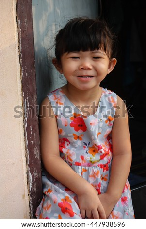 Soft focus blurred Close up portrait of Asian little girl in the series photo. - stock photo