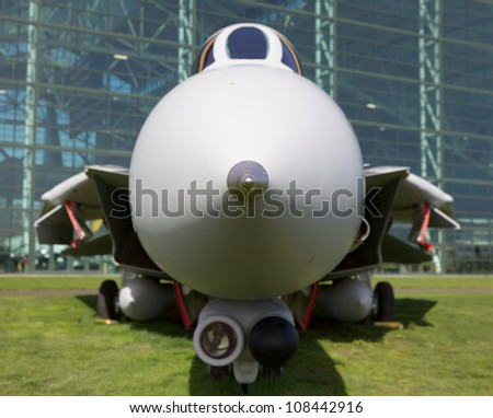Soft focus Jet Fighter Profile with only leading pitot tube sharp - stock photo