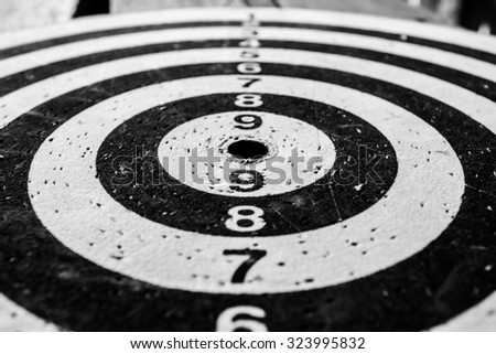 soft focus of old dart target black white color. - stock photo