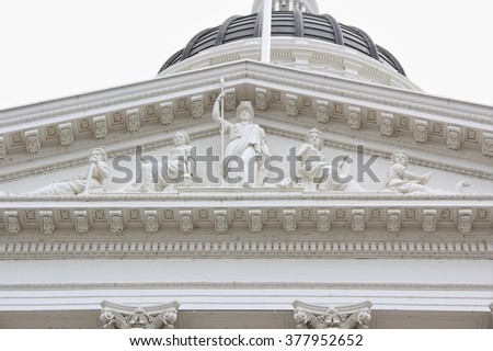 Soft Focus on Greco-Roman Structural Design of the State Capitol Museum at Sacramento, California - stock photo