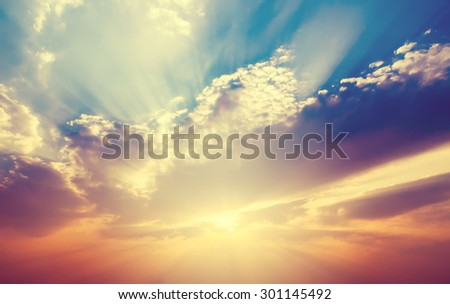 Soft focus, sunset sky with ray light in vintage filter. - stock photo