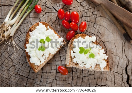 Soft goat cheese on bread or toast - stock photo