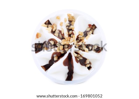 Soft ice cream with chocolate and nuts. Isolated on a white background. - stock photo