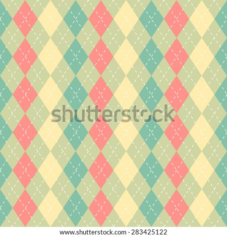 Soft pastel green, yellow and red argyle seamless pattern, can be used as repeating pattern. - stock photo