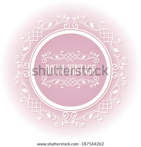 Soft pink floral border round frame for your photo or sample text isolated on white background. For tender girl and woman. Raster copy. - stock photo
