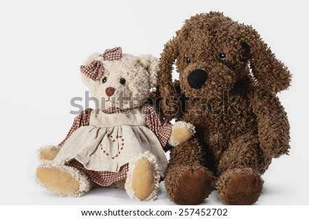 Soft plush toy animals isolated on white background - stock photo