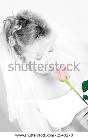 soft portrait of a bride smelling a single rose on her wedding day.