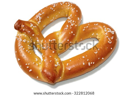 Soft pretzel isolated on white with clipping path included.