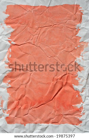 Soft red color framed painted crushed paper as background. Art is painted by photographer. - stock photo