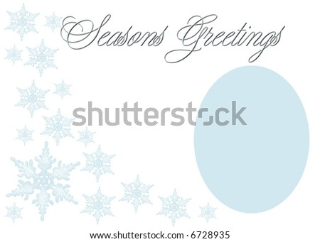 Soft Seasons Greetings in blue on white with photo area. - stock photo
