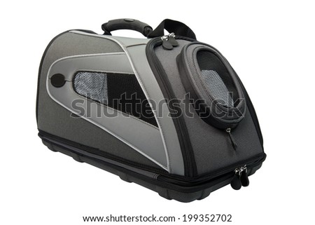 Soft Sided grey and black Cat Carrier isolated on white.  - stock photo