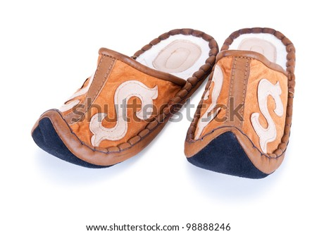 soft slippers in the oriental style on a white background - stock photo