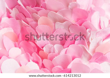 Soft spring textile pink petals composition. Flower blossom wallpaper, top view