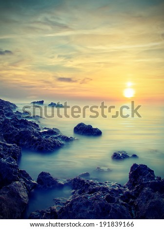 soft sunset. natural landscape. Vintage style - stock photo