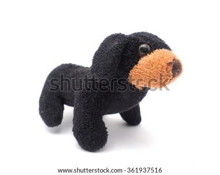 soft toy dog on a white background - stock photo